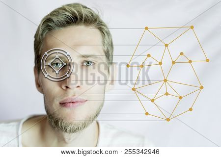biometric man face scan identifying for international passport isolated poster