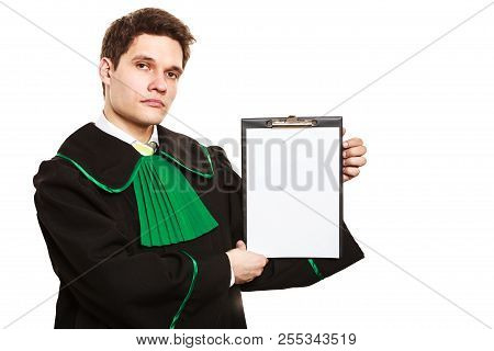 Career And Legal Advice. Young Male Lawyer Hold Clipboard Files Show Advice And Help. Blank Copy Spa
