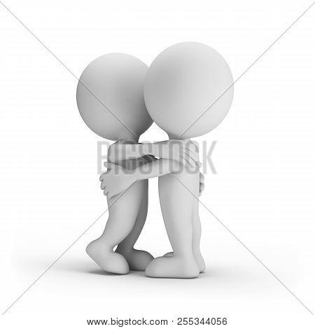 Loving People Hugging Each Other. 3d Image. White Background.