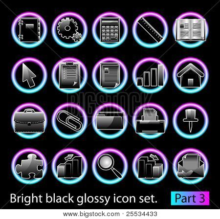 Black glossy icon set 3. Standart collection of design element for your creative word (see other in my portfolio).