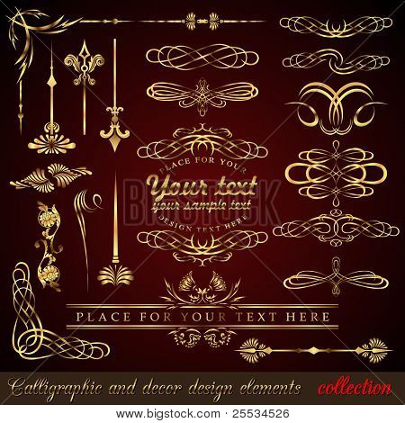 Gold calligraphic design elements. Vector design corners, bars, swirls, frames and borders. Hand written retro feather symbols.