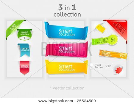 Ribbon and banner collection. Vector bookmarks.