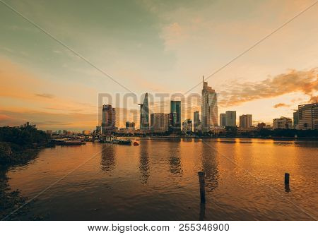 Beautiful Landscape Yellow Sunset Of Ho Chi Minh City Or Sai Gon, Vietnam. Royalty High-quality Free