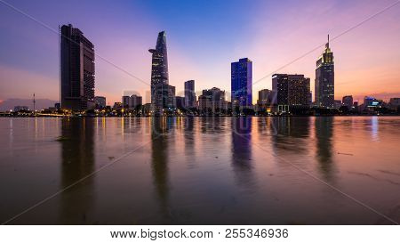 Beautiful Landscape Sunset Of Ho Chi Minh City Or Sai Gon, Vietnam. Royalty High-quality Free Stock