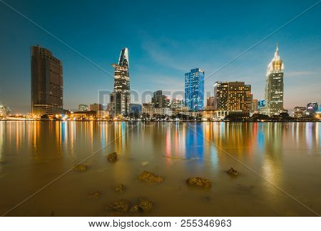 Beautiful Landscape Sunset Of Ho Chi Minh City Or Sai Gon. Royalty High-quality Free Stock Image Of