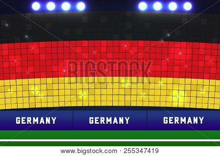 Germany flag card stunts. Germany soccer or football stadium background. vector poster