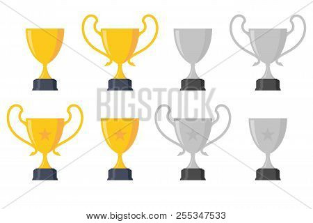 Set Luxury Design Trophy Award Championship Achievement With Color Gold And Grey. Trophy Icon Modern