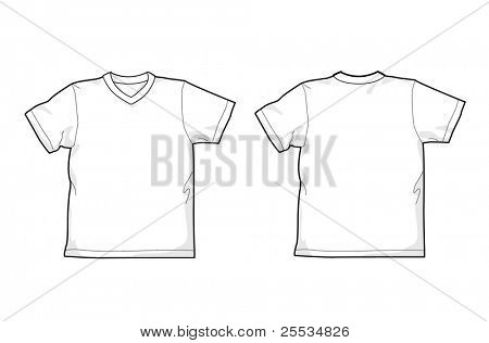 White T-shirt - back and front, V-neck