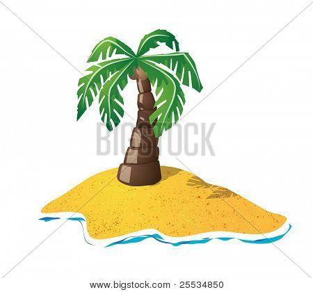 Cute palmtree on small island