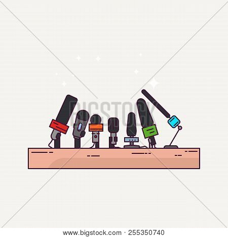 Press Conference Or Interview Podium. News And Journalism Banner. Line Style Microphones. Press Conf