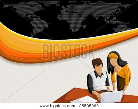 Vector Background with bunte Welle und Geschäftsleute arbeiten