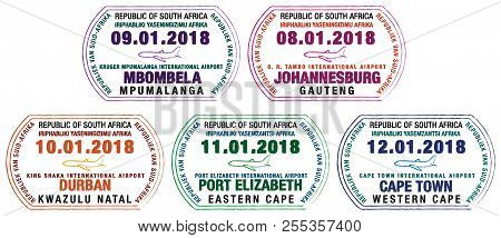 Set Of Stylized Stamps For Passport For Major South African Airports In Vector Format.
