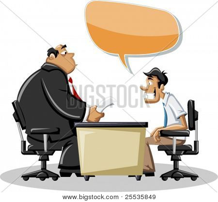 Cartoon man talking with his boss in office. Speech bubble. Dialog balloon.