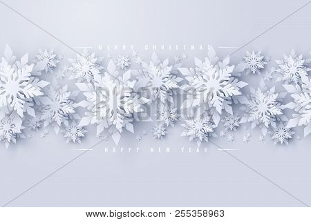 Vector Merry Christmas And Happy New Year Background With Realistic Looking Paper Cut Snowflakes. Se