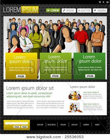 Yellow and black Website Template. Vector illustration.