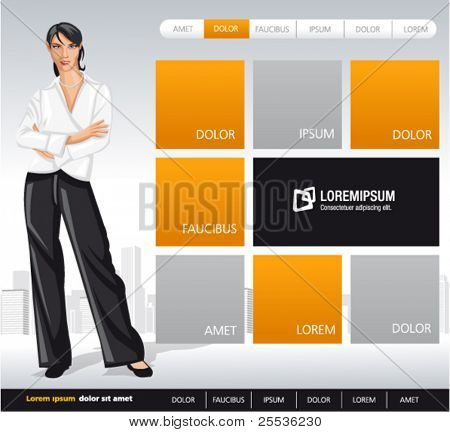 Orange and gray business website Template