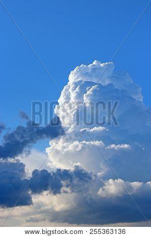 Big White Cloud On Blue Sky. Heaven View
