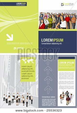 Blue and yellow green template for advertising brochure with business  people