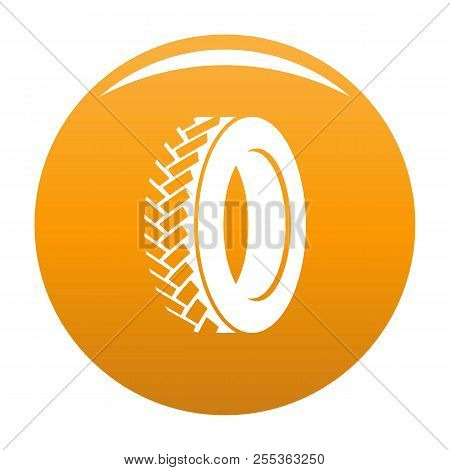 One Tyre Icon. Simple Illustration Of One Tyre Vector Icon For Any Design Orange