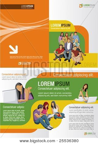 Yellow, orange and green template for advertising brochure with studants