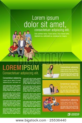 Yellow, orange and green template for advertising brochure with students