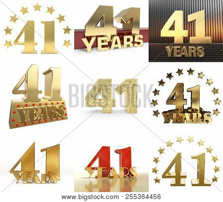 Set Of Number Forty One Year (41 Year) Celebration Design. Anniversary Golden Number Template Elemen
