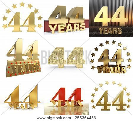 Set Of Number Forty Four Year (44 Year) Celebration Design. Anniversary Golden Number Template Eleme