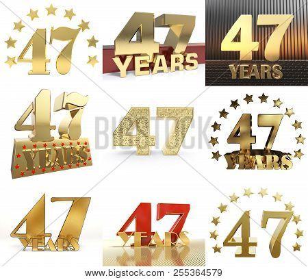 Set Of Number Forty Seven Year (47 Year) Celebration Design. Anniversary Golden Number Template Elem