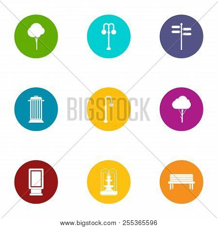 Parkland Area Icons Set. Flat Set Of 9 Parkland Area Vector Icons For Web Isolated On White Backgrou