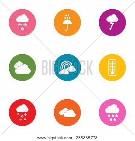 Downpour Icons Set. Flat Set Of 9 Downpour Vector Icons For Web Isolated On White Background