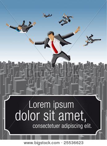 Template of businessmen falling over big city landscape
