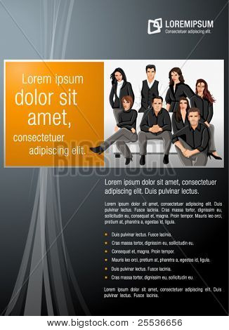 Orange and black template for advertising brochure with business  people