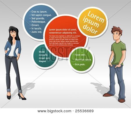 Colorful template for advertising brochure with teenage people