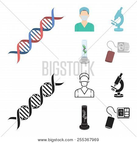 Plant In Vitro, Nurse, Microscope, Tonometer. Medicine Set Collection Icons In Cartoon, Black Style