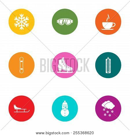 Winter Afternoon Icons Set. Flat Set Of 9 Winter Afternoon Vector Icons For Web Isolated On White Ba