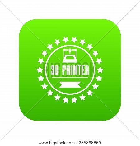 Prototype 3d Printing Icon Green Vector Isolated On White Background