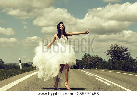 Young Wedding Happy Sexy Girl Or Woman With Brunette Hair And Pretty Face In White Bride Dress Stop