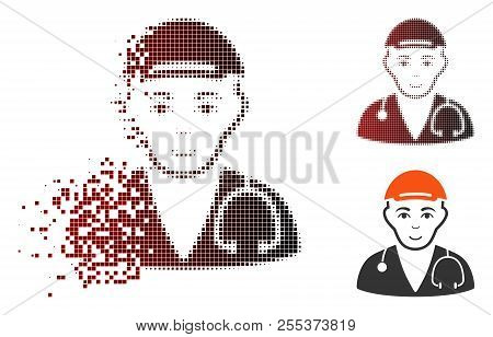 Physician Doctor Icon With Face In Sparkle, Pixelated Halftone And Undamaged Whole Versions. Particl