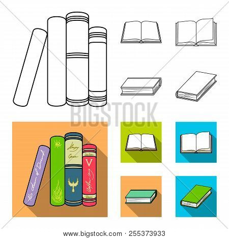 Various Kinds Of Books. Books Set Collection Icons In Outline, Flat Style Vector Symbol Stock Illust