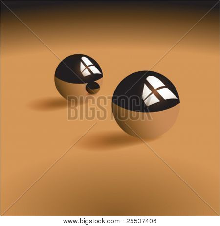 Vector chrome balls with reflection.
