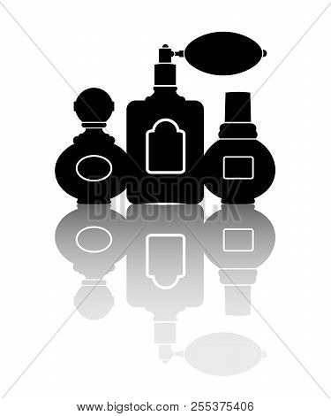 Silhouettes Of Three Perfumes. Vector Illustration. Eps 10