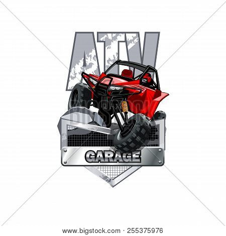 Off-road Atv Buggy Logo, Service And Repairs Garage. Eps 10 Vector Graphics. Layered And Editable.