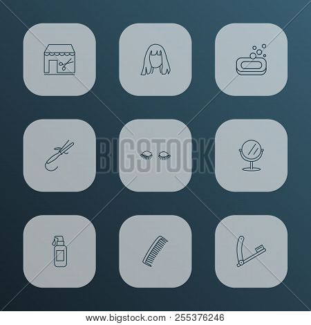 Barber Icons Line Style Set With Razor Blade, Comb, Curling Iron And Other Vanity Elements. Isolated