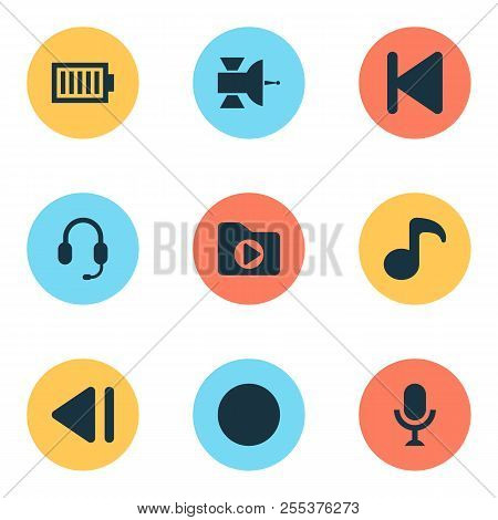 Music Icons Set With Satellite, Dossier, Record And Other Quaver Elements. Isolated Vector Illustrat