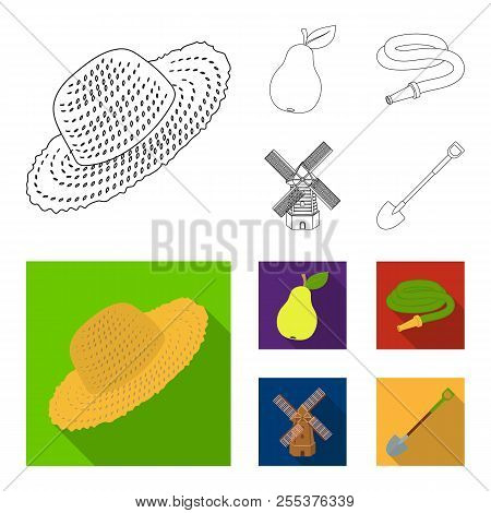 Straw Hat, Pear With Leaf, Watering Hose, Windmill. Farmer And Gardening Set Collection Icons In Out