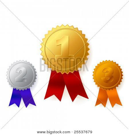 Beautiful vector gold, silver and bronze awards