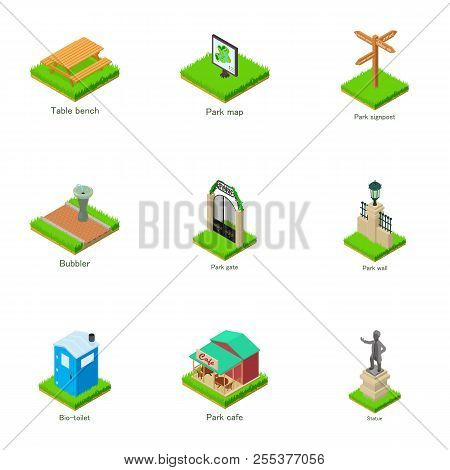 Sights Of The Town Icons Set. Isometric Set Of 9 Sights Of The Town Vector Icons For Web Isolated On