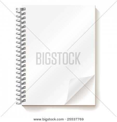 Vector realistic notebook with bended corner