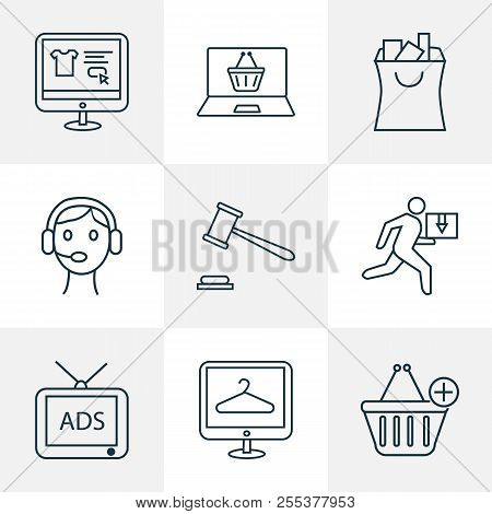 E-commerce Icons Line Style Set With Add To Cart, Shopping Website, Ecommerce And Other Tv Elements.