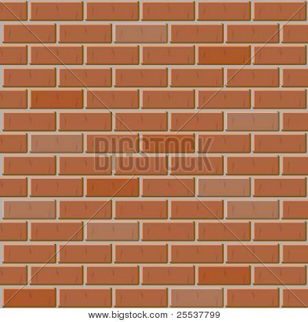 Vector brick wall made of red bricks. Seamless texture.